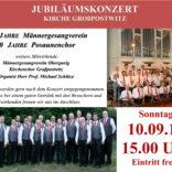 Ankündigung zum Jubiläumskonzert am 10.09.2017